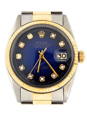 97404fd7c4ba Product Image Pre-Owned Mens Rolex Two-Tone 14K SS Datejust Blue Diamond  1601 (