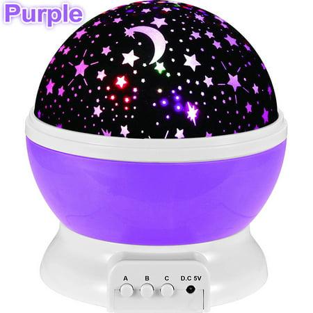 Purple Star Led Night Light Rotate Music Projection Lamp Romantic Baby Sleeping Light Christmas