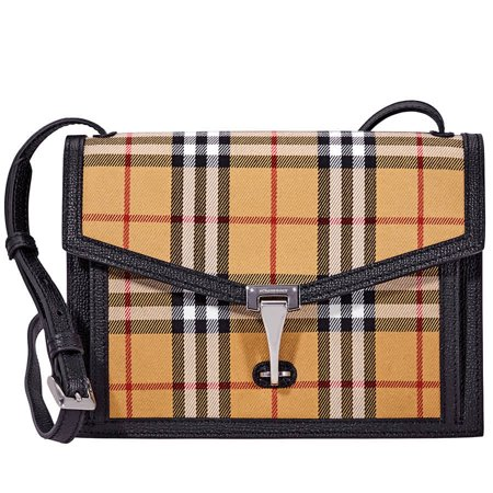 Burberry Small Vintage Check and Leather Crossbody Bag- Black
