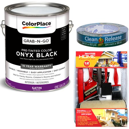 ColorPlace Grab-N-Go Onyx Black Interior Paint with Duck Brand Clean Release Painters Tape, 0.94