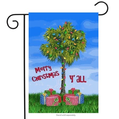 Palmetto Christmas Garden Flag Merry Y'all Holiday Southern Yard Banner 12