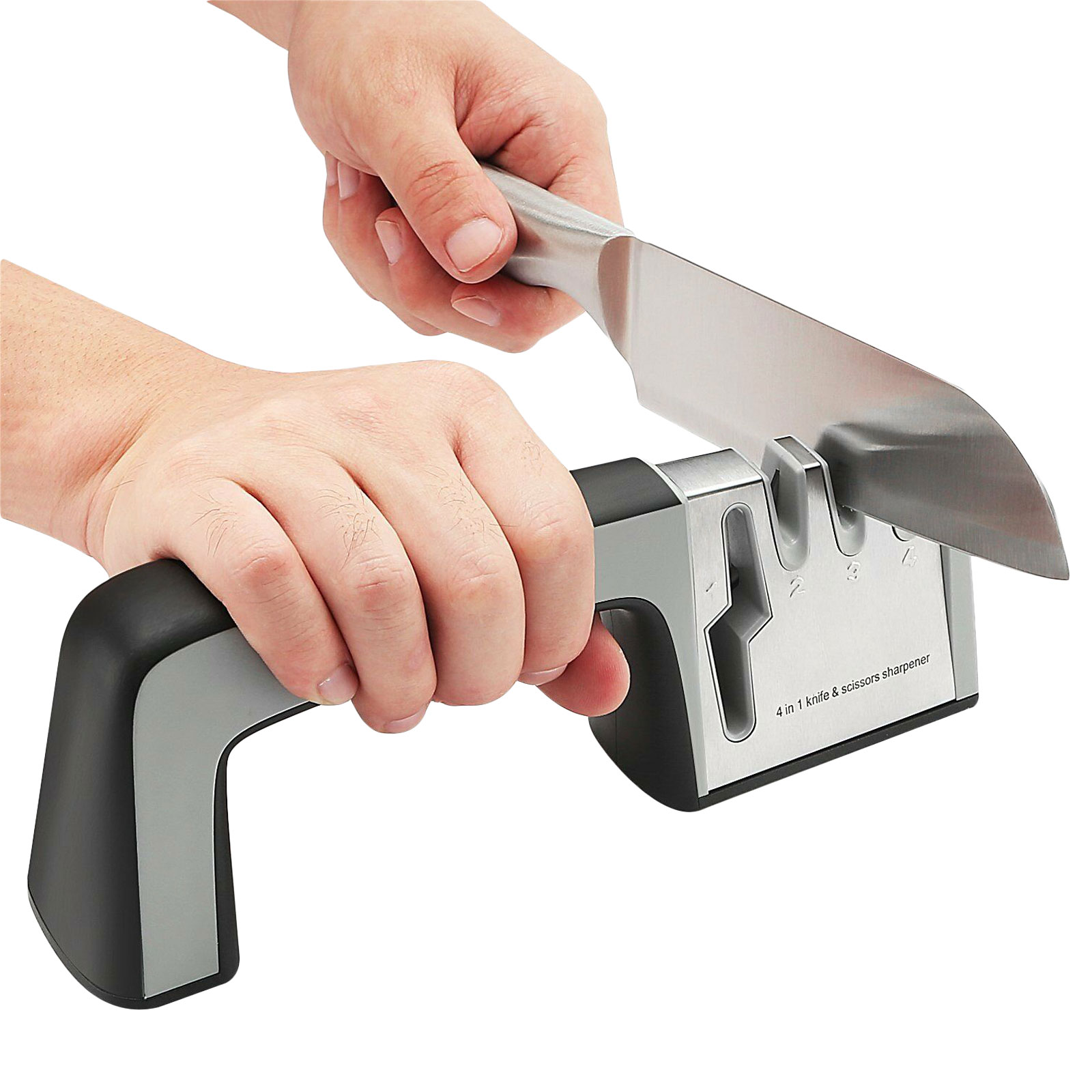 TSV Kitchen Knife Sharpener - 4-Stage Knife Sharpening Tool Helps Repair, Restore and Polish Blades, Easy & Safety