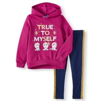 Disney Frozen 2 Elsa and Anna Graphic Hoodie and Legging, 2-Piece Outfit Set (Little Girls & Big Girls)