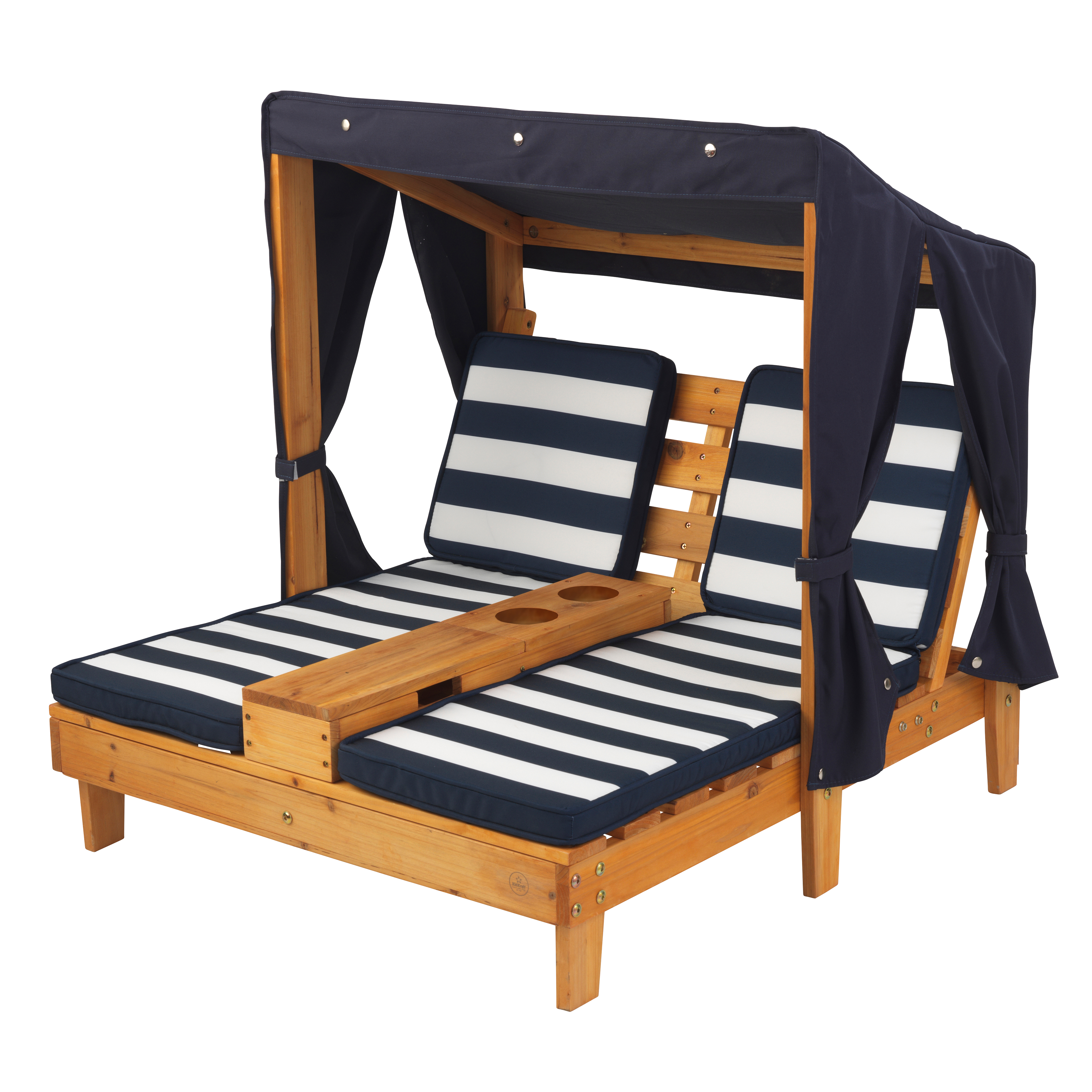 Kidkraft Double Chaise Lounge With Cup Holders Honey Navy