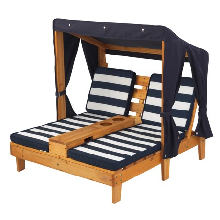 KidKraft Double Chaise Lounge With Cup Holders Honey  Navy - Double chaise lounge outdoor furniture