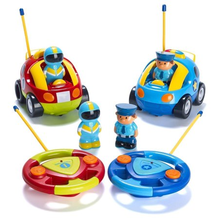 Pack of 2 Cartoon R/C Police Car and Race Car Radio Control Toys for Kids- Each with Different Frequencies So Both Can Race Together (Police Race)