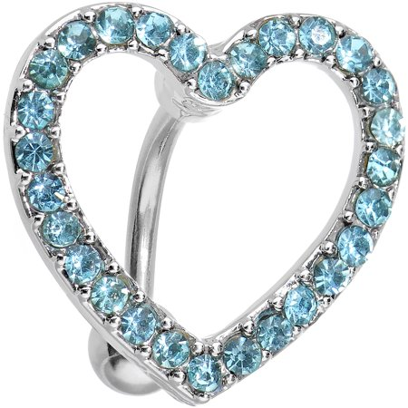Signature Hollow Body - Body Candy Stainless Steel Blue Bordered Hollow Heart Top Mount Belly Ring