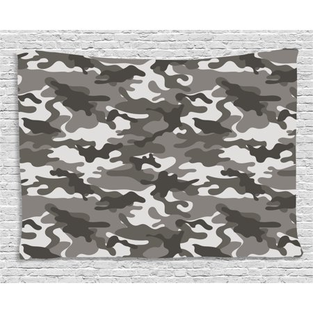 Camouflage Tapestry, Monochrome Army Attire Pattern Camouflage inside Vegetation Military Equipment, Wall Hanging for Bedroom Living Room Dorm Decor, 80W X 60L Inches, Grey Coconut, by