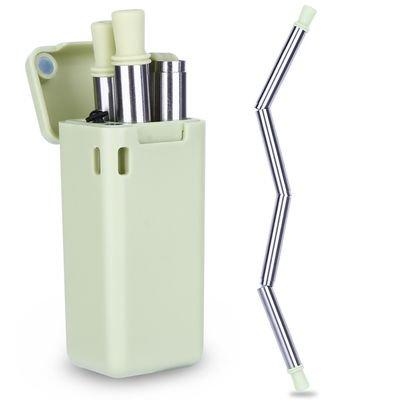 Grey Straw - KABOER  Stainless Steel Metal Straws Collapsible Straw Reusable Food-Grade Folding Drinking Straws  with Cleaning Brush