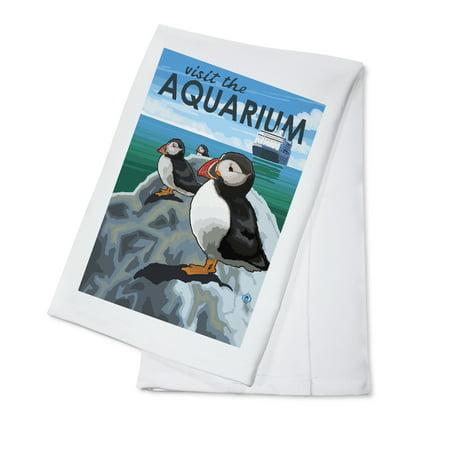 Pacific Puffin - Visit the Aquarium - Lantern Press Original Poster (100% Cotton Kitchen