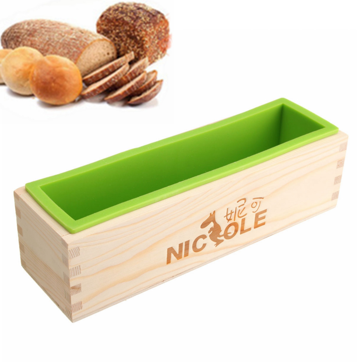 Rectangle Silicone + Wood Soap Mold Wooden Box DIY Tools Toast Loaf Baking Cake Molds by