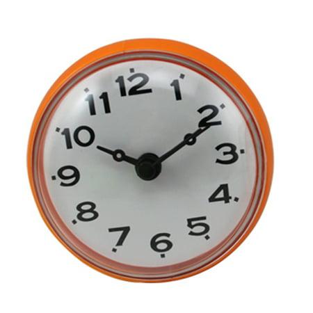 Fashion Home Bathroom Kitchen Adsorption Type Waterproof Round Mini Clock - (Orange Crush Glass Clock)