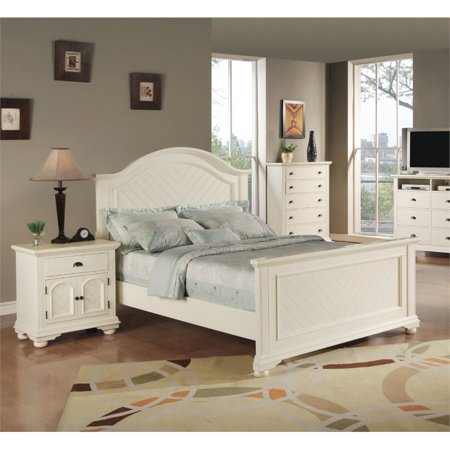 Queen Size Bedroom Set Furniture Modern Design White 3 Pieces Nightstand  Dresser