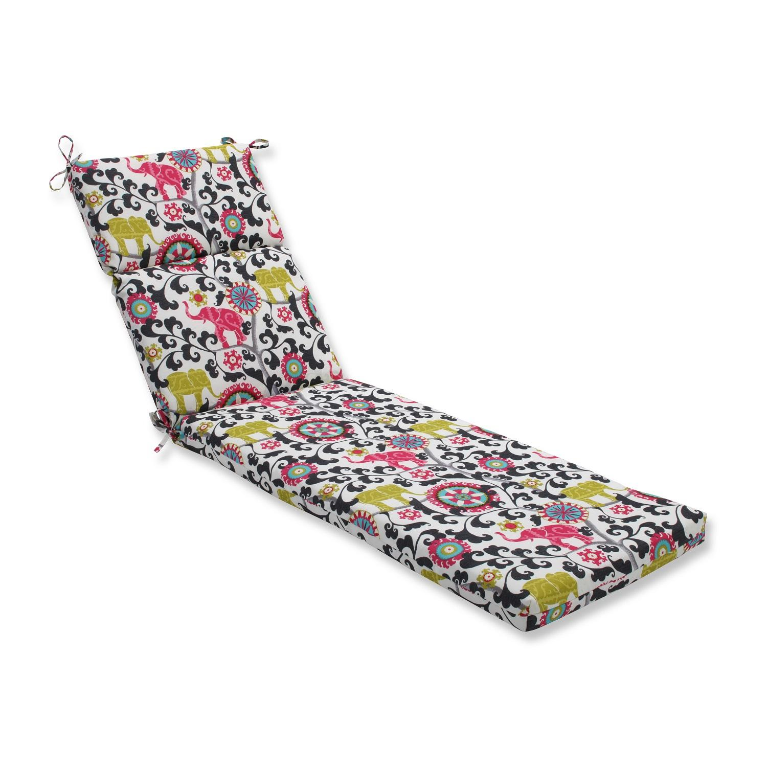 """72.5"""" Pink and Black Elephant Dreams Outdoor Patio Chaise Lounge Cushion"""