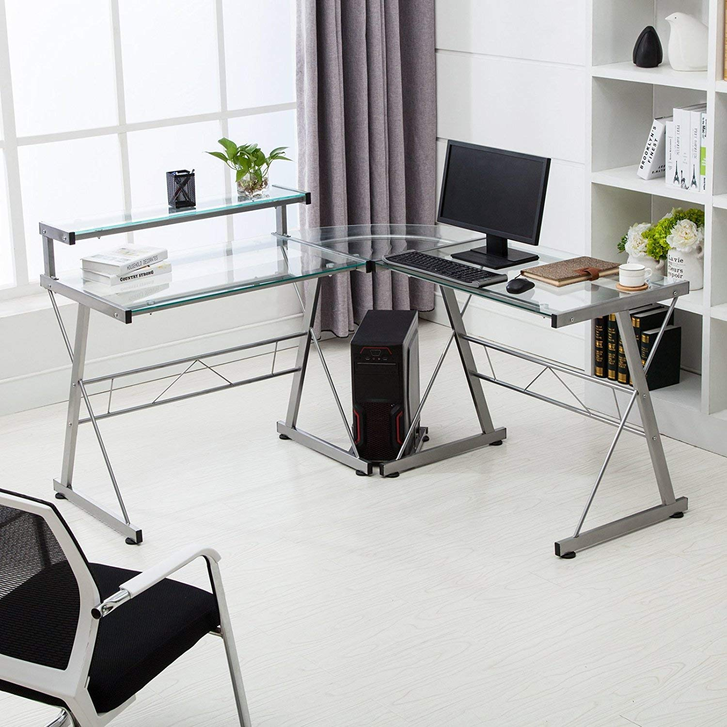 Product Image Computer Desk Glass Laptop Table Workstation Home Office  Furniture Mecor L Shape Corner