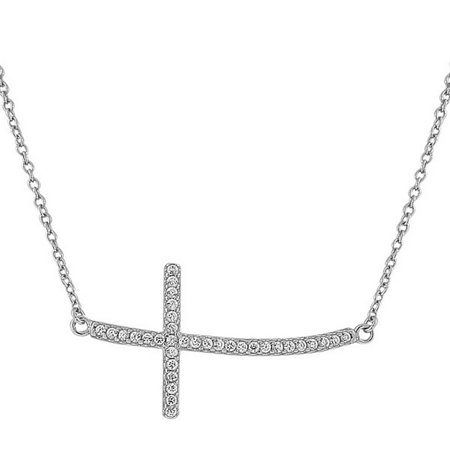 - 925 Sterling Silver Womens Sideways Religious Cross White CZ Pendant Necklace