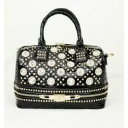Hearty Trendy Black Glitter Accent Croc Pattern Zipper Hand Bag Purse