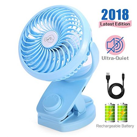 reenuo clip on mini desk fan,4400mah battery operated,quiet portable  personal usb fan,with 2 rechargeable batteries,360 degree rotation for  table tops