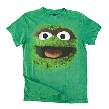 Sesame Street Big Face Oscar The Grouch Mens Green T-Shirt | - Fame Light T-shirt