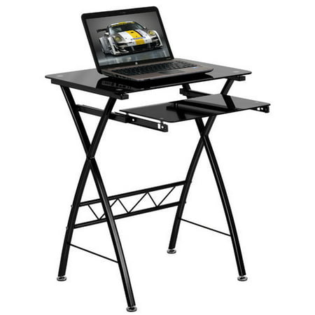 Flash Furniture Tempered Glass Computer Desk with Key Board Tray, Black Black Glass Computer Desk