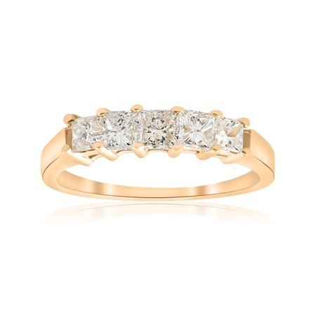Cut Diamond Ring Band - 1ct Princess Cut Diamond Anniversary 14K Yellow Gold Ring Womens Wedding Band