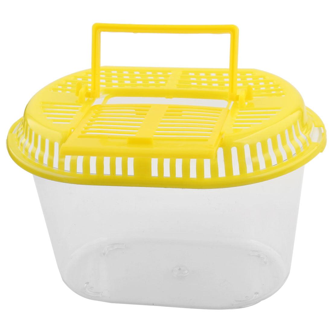 Plastic Household Decor Oval Design Aquarium Betta Fish Tank Pet Feed Box Yellow