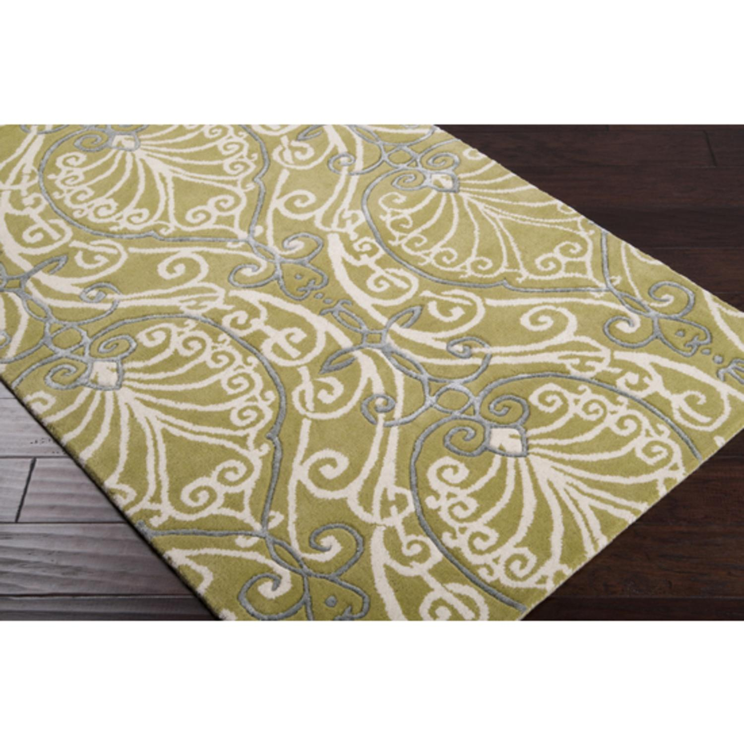 5' x 8' Arabesque Avocado Green Wool Area Throw Rug