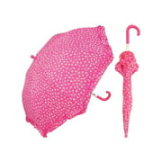 Zeckos Hot Pink Heart Print 34 Inch Mini Stick Umbrella