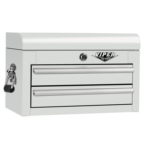 Viper Tool Storage V218MCWH 18-Inch 2-Drawer 18 Gauge Steel Mini Storage Chest W/ Lid Compartment, White