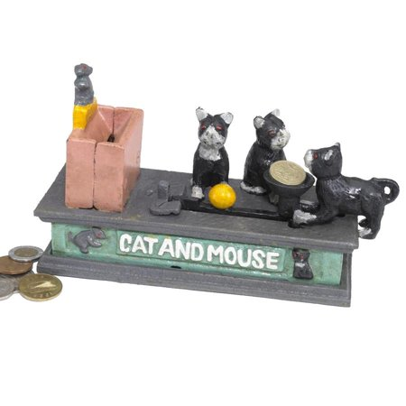 Antique Replica Cat and Mouse Authentic Foundry Iron Mechanical Bank - Antique Mechanical Banks