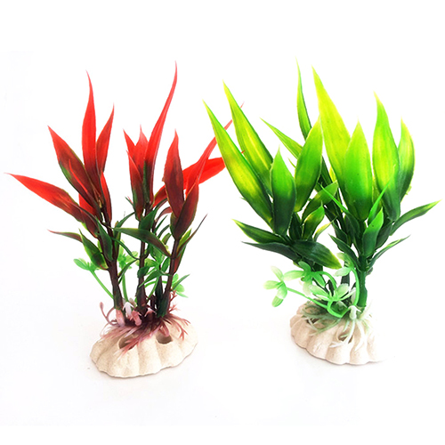 Heepo Red Green Plastic Plant Grass for Aquarium Fish Tank Landscape Decoration