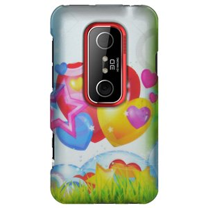 HTC Case, Rubberized Protector Back Case Slim Designed Snap On Cover for HTC EVO 3D,HTC EVO V 4G - Rainbow Balloon Hearts