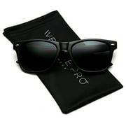 WearMe Pro - Classic Full Black Frame Square Retro Sunglasses for Men or Women