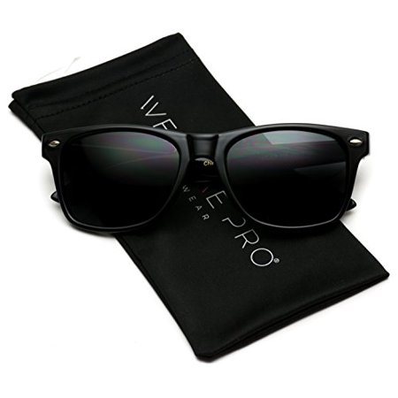 WearMe Pro - Classic Full Black Frame Square Retro Sunglasses for Men or (Mens Discount Sunglasses)