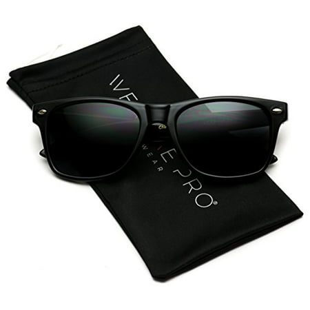 WearMe Pro - Classic Full Black Frame Square Retro Sunglasses for Men or Women
