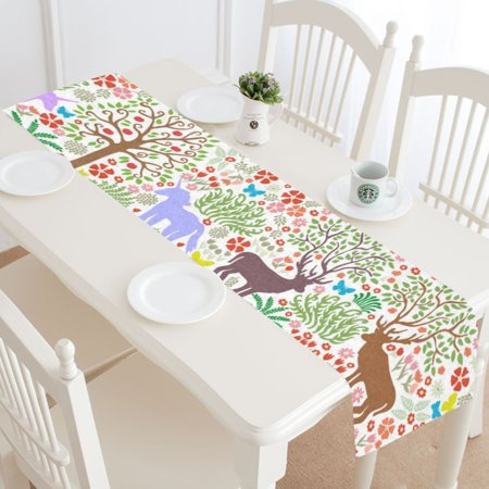 MKHERT Rainbow And Unicorns Table Runner for Wedding Party Banquet Decoration 14x72 inch](Rainbow Table Decorations)