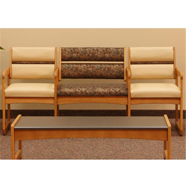 Wooden Mallet DWBA1-3MOWR Valley Three Seat Bariatric Chair with Center Arms in Medium Oak - Watercolor Rose