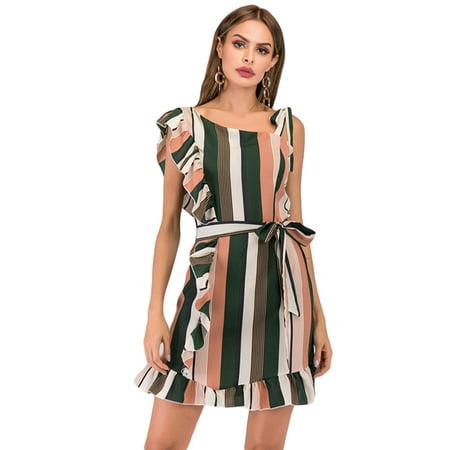 Womens One Shoulder Ruffle Mini Dress Striped Lace Up Strappy Sundress