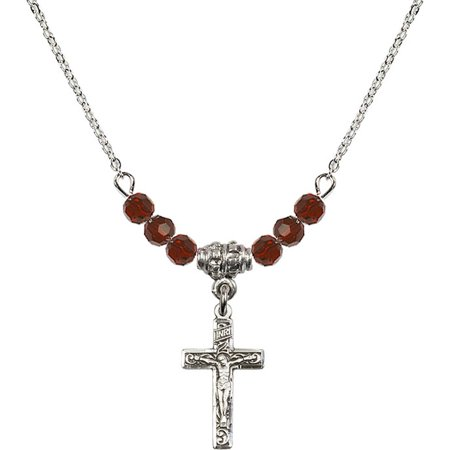 Colored Crucifix (January Birth Month Colored Bead Necklace with Floral Crucifix Charm, 18)