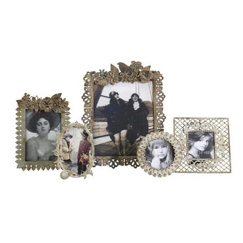 Set of 5 Country Chic Vintage Style Photo Picture Frames with Floral Accents