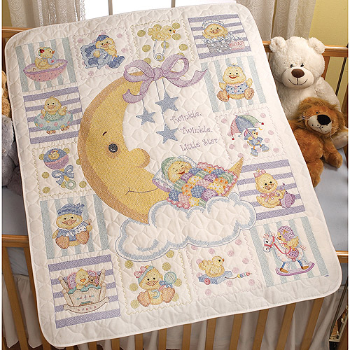 "Twinkle Twinkle Little Star Crib Cover Stamped Cross Stitch , 34"" x 43"""