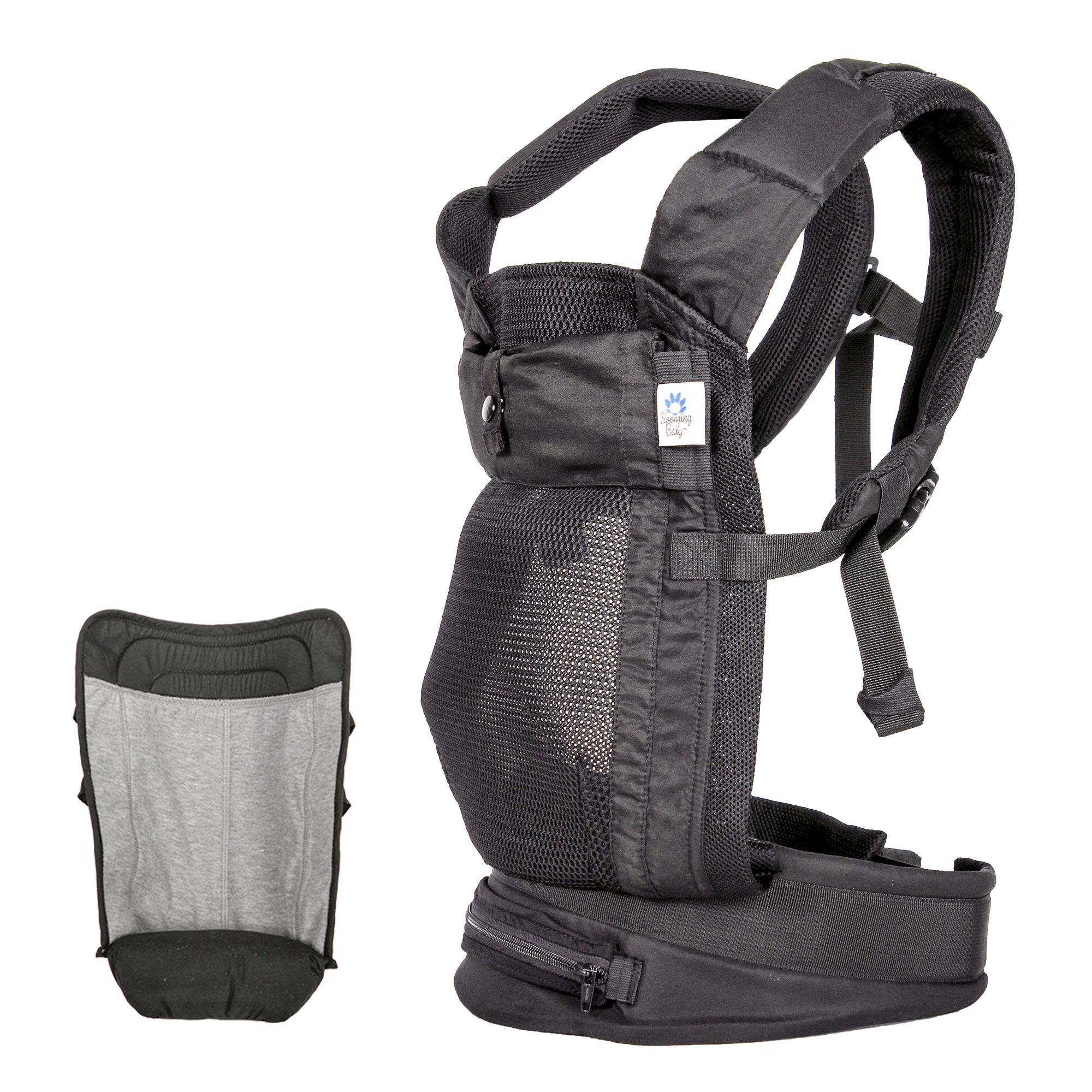 Blooming Baby Black Airflow Carrier with Gray Infant Insert