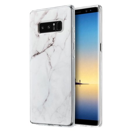 Samsung Galaxy Case,Premium Marble Designed Soft TPU Cover Protective Slim Back Case (Shockproof, Raised Bezel, Anti Scratch,Flexible) for Samsung Galaxy Note 8 SM -N950U-White