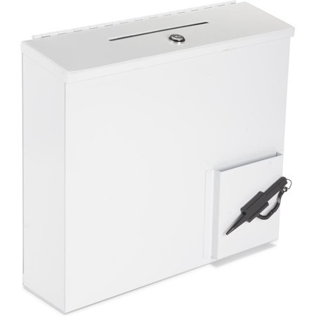 displays2go metal suggestion donation box wall or counter mount
