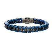 Inox BRRALT7GRYGUN 8.5 in. Mens Bracelet - Navy Leather with Gun Metal IP