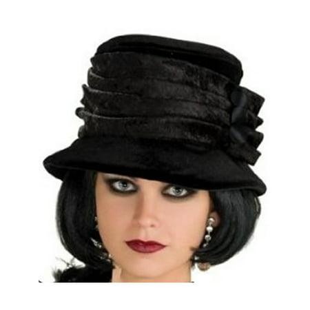 Women's Deluxe Roaring 20s Flapper Girl Black Velvet Hat - Flapper Hat