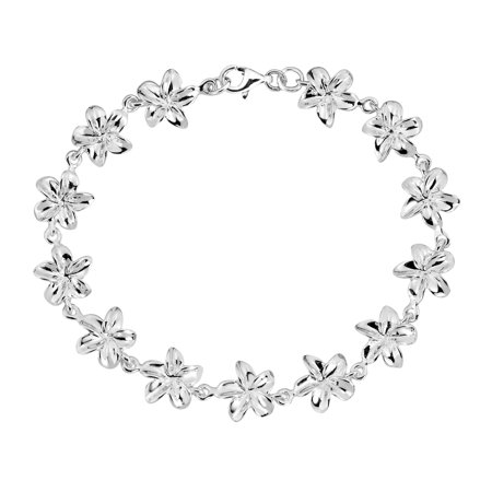 Pretty Hawaiian Plumeria .925 Sterling Silver Link