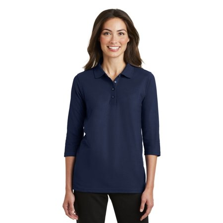 Port Authority® Ladies Silk Touch™ 3/4-Sleeve Polo. L562 Navy Xxl - image 1 de 1