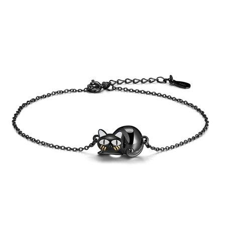 Ginger Lyne Collection Ginny Black Cat Cute Kitty Kitten Chain Bracelet Sterling Silver
