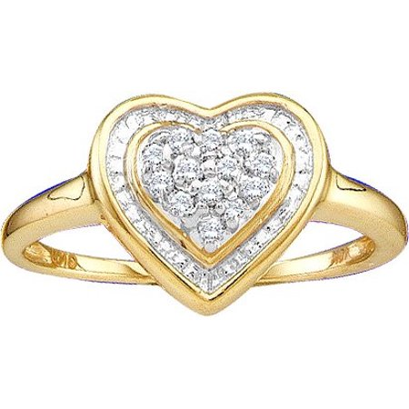 - 10K Yellow Gold 0.10ctw Fancy Pave Round Diamond Ladies Cluster Heart Ring